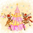 Christmas greeting card whit funny Reindeer — Stockvektor