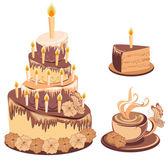 Set chocolate birthday cake with tea — Stock Vector