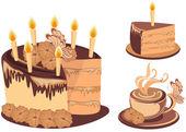 Chocolate birthday cake with tea — Stock Vector