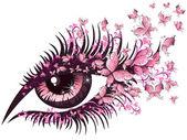 Bel œil féminin avec des papillons — Vecteur