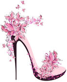 Shoes on a high heel decorated with butterflies — Vecteur