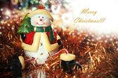 рождественская открытка со снеговиком — Стоковое фото