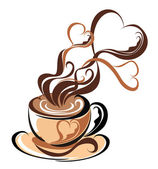 Love coffee. Cup of coffee with fragrant steam in the form of hearts — Vecteur