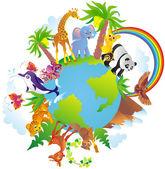 Cartoon animals walking around a globe — Stock Vector