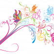 Creative floral pencil. Art concept, vector illustration — Imagen vectorial