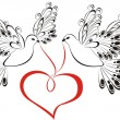 Two flying dove with heart shaped. Symbol of peace and unity — Stok Vektör