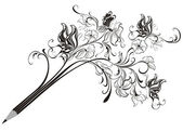 Creative floral pencil. Art concept, vector illustration — Wektor stockowy