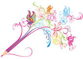 Creative floral pencil. Art concept, vector illustration — Vector de stock