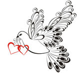 Flying dove with heart shaped. Symbol of peace and unity — Wektor stockowy