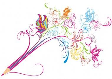 Creative floral pencil. Art concept, vector illustration