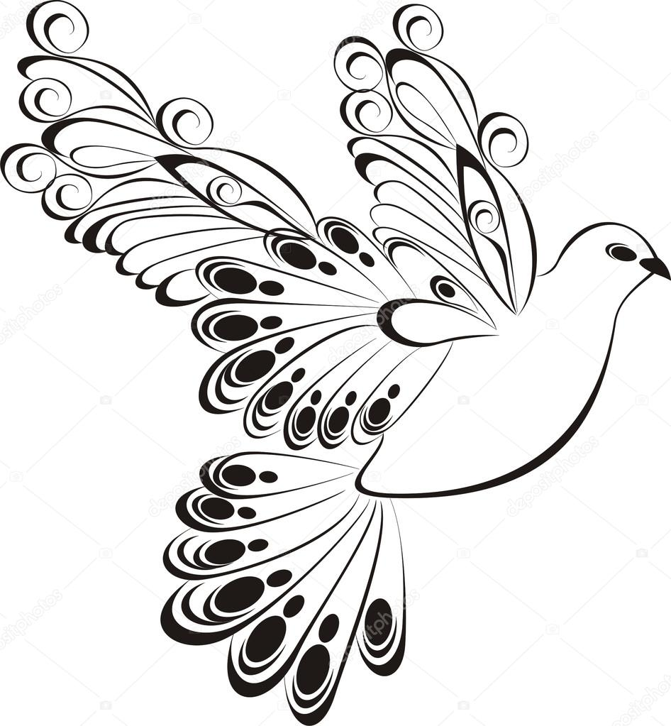 Flying Dove Symbol Peace And Unity Stock Vector Marina