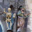 Detail of the astronomical clock and statues in the town hall of Prague - Stock Photo