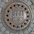 Manhole cover in Prague, Czech Republic - Stock Photo