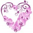 Heart from purple orchid. Vector Valentines card. — Stockvectorbeeld