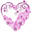 Royalty-Free Stock Vector Image: Heart from purple orchid. Vector Valentines card.