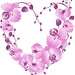 Heart from purple orchid. Vector Valentines card. — Stock Vector
