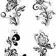 Decorative vector ornament. Vector floral ornament with butterfl - Imagen vectorial