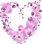 Coeur d'orchidée pourpre. carte de Saint Valentin de vecteur. — Vecteur
