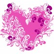 Valentines heart. Vector floral heart shape — Stockvectorbeeld