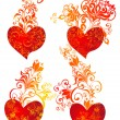 Set Valentines heart. Vector floral heart shape — Stockvectorbeeld