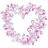 Valentines heart. Vector floral heart shape — Stock Vector