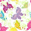Seamless wallpaper with butterflies — Stock Vector