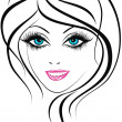 Beauty face. Beautiful young girl icon — Stock Vector