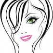 Beauty face. Beautiful young girl icon — Stock Vector #18917359