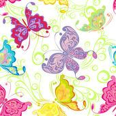 Seamless wallpaper with butterflies — Stock Vector