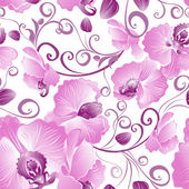 Seamless pattern of purple orchids — Stock Vector