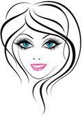 Skönhet ansikte. vacker ung flicka ikonen — Stockvektor