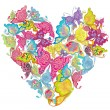 Floral Love Shape. Vector Heart of butterflies. — Vettoriali Stock