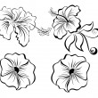 Stylized black and white flowers — Stock Vector