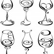 Set stylized wine glass — Stock Vector