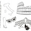 Stock Vector: Famous landmarks of Italy