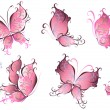 Set of pink butterflies isolated on a white — Stock Vector