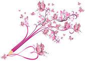 Odrobina ołówek kreatywnych kwiatowy kwiecisty. koncepcja — Wektor stockowy