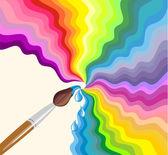 Rainbow brush. Abstract background — Stock Vector