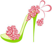 Roses high heel. Shoes on a high heel decorated with roses — Stock Vector
