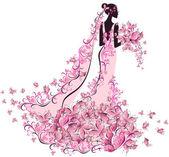 Mariée en robe à fleurs avec papillon — Vecteur