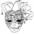 Vector sketch venetian mask. Carnival mask from venice Italy. — Stock Vector