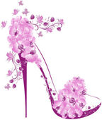 Shoes on a high heel decorated with orchids — Stock Vector