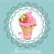 Vintage card with cupcake — Stock Vector #19603505