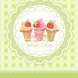 Vintage card with cupcakes — Stock Vector #19603469