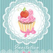 Vintage card with cupcake — Stock Vector #19603485