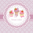 Stock Vector: Vintage card with cupcakes