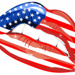 Flags of the USA in sensuality lips — Stock Vector