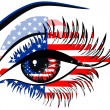 Flags of the USA in beautiful female eye — Vector de stock