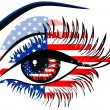 Flags of the USA in beautiful female eye — Vector de stock #19603677
