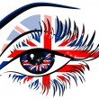 Flags of the Great Britain in beautiful female eye - Stock Vector